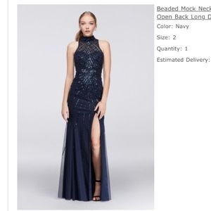 Navy jeweled PROM DRESS